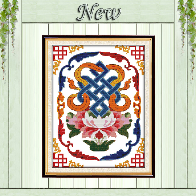 The Eight Auspicious Symbols Decor Painting Counted Printed On