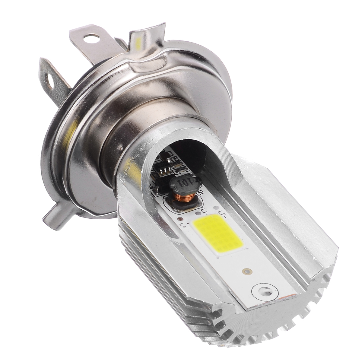 Image 2 - 1pc DC12V H4 LED Motorcycle Motorbike Headlight Moto Fog Light Lamp Single sided Bulb 800 2000LM 6000K For Moped Scooter ATV