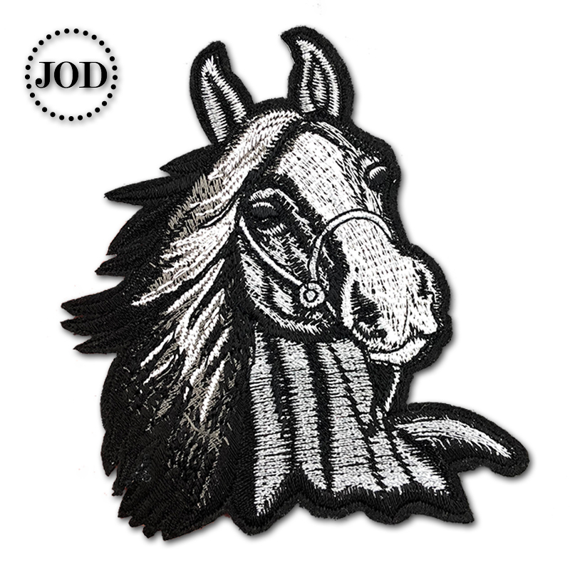 Embroidered Horse Size:8.3x10.6cm Black Iron on Patches for Clothing Biker Sew on Applications Clothes Patch Applique Coat @20