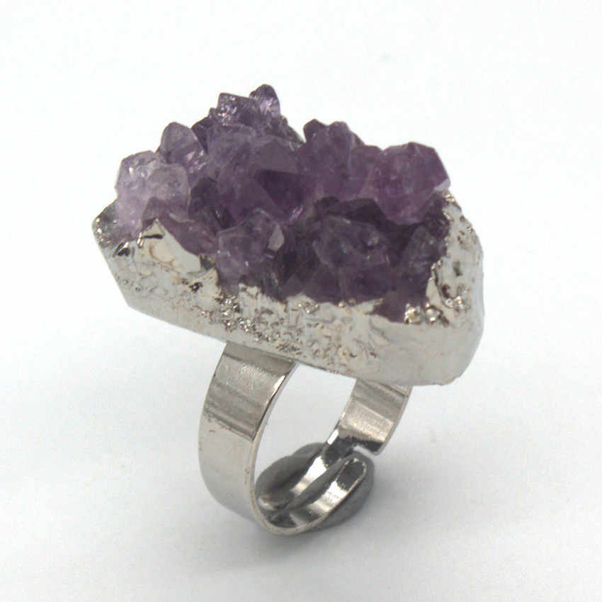 100-уникальный 1 шт. посеребренные нерегулярные Форма натуральный фиолетовый аметисты кластера изменять размер кольца вечерние подарок