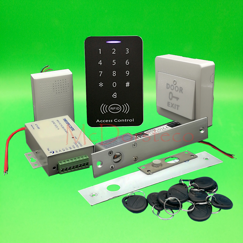 DIY Full 125khz Rfid Access Control System Kit + Electric Bolt Lock + Power Supply 125khz Keypad Wooden Door Lock System digital electric best rfid hotel electronic door lock for flat apartment