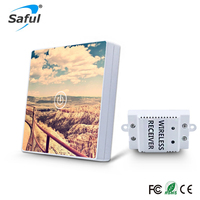 Saful 12V 1 Gang 1 Way Wall Switch Tempered Crystal Glass DIY Panel Painting Remote Control