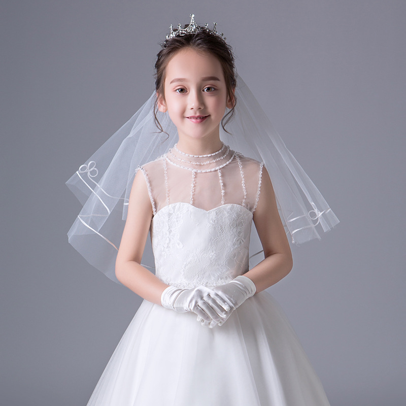 In Stock Ivory Flower Girl Veils Two Layers White First Communion Hair Accessories 2020 New Arrivals