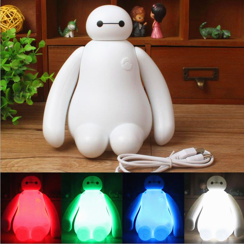 RGBW Color Changing Baymax Cartoon LED Night Light Baby Room Kids Bed Lamp Sleeping Desk Lamp Decoration Rechargeable Table Lamp