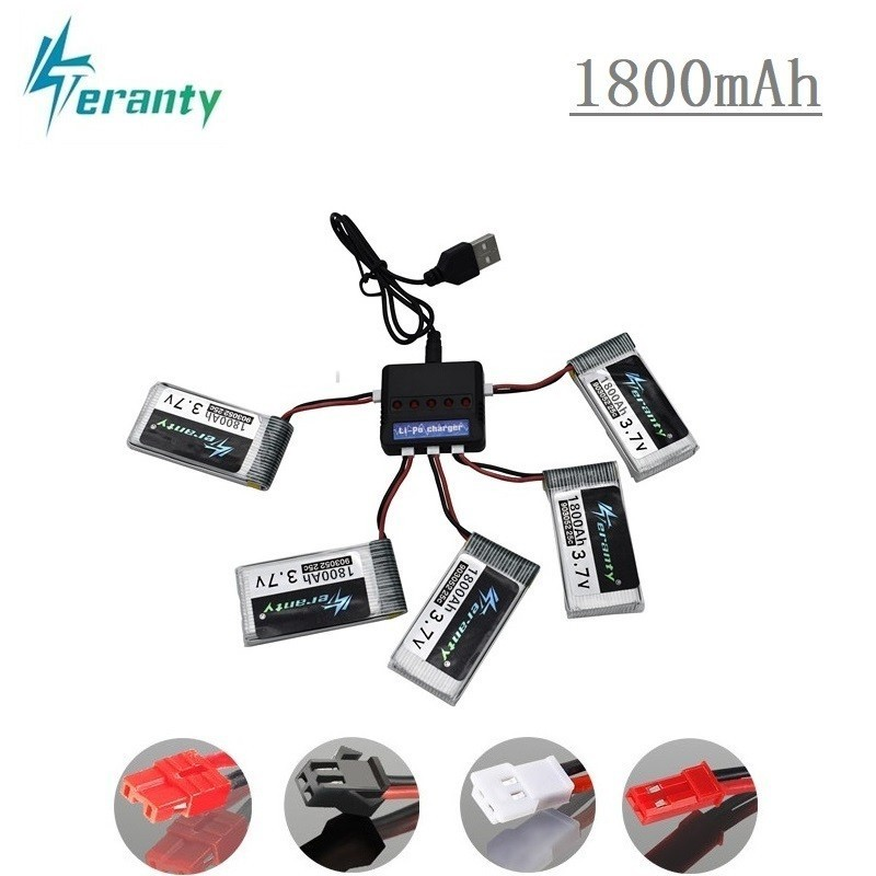 Upgrade 3.7v 1800mAh Lipo Battery And 5-in-1 Charger For KY601S SYMA X5 X5S X5C X5SC X5SH X5SW X5UW X5HW M18 H5P HQ898 H11D H11C