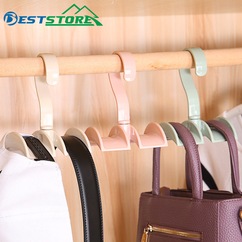 Multi-functional Rotary Handbag Holder Rack Wardrobe Nail-free Hanger Hook Creative Tie Hanger Hook