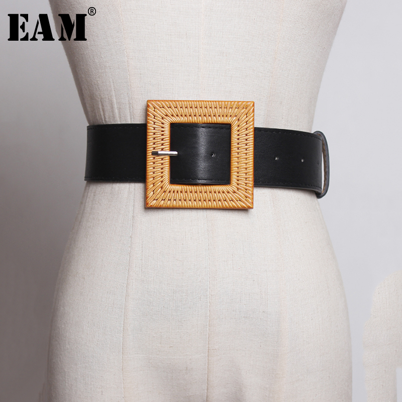 [EAM] 2019 New Spring Summer Pu Leather Personality Brief Rattan Buckle Temperament Belt Women Fashion Tide All-match JX964