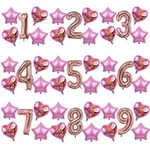 Image 2 - 5pcs ורוד שמיים מרדף PAW סיירת שחור עלה זהב לב לסכל בלוני מספר מסיבת יום הולדת דקור הליום Globos צעצועים תינוק מקלחת