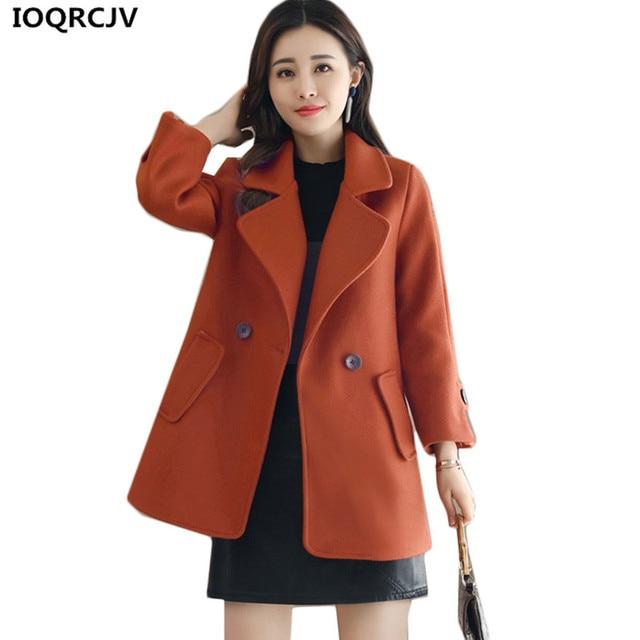 0fe4a3e8ac421 IOQRCJV Woolen Jacket Women 2018 New Autumn Winter Coat Solid Color Loose  Short Trench Coat Plus