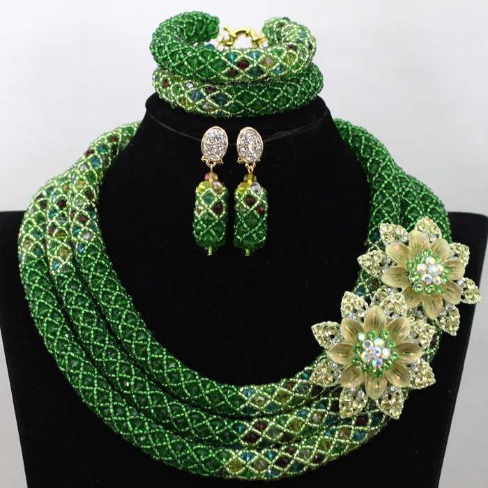 Graceful Green Women African Beads Jewelry Set Indian Crystal Wedding Necklace Party Set Free Shipping QW722 цена 2017
