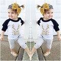 Letras moda Eu te Amo Deeriy Raglan T-shirt de Manga Comprida Casaco menino menina Chifres Unisex Dos Miúdos Tops De Algodão Macio Do Bebê camisetas