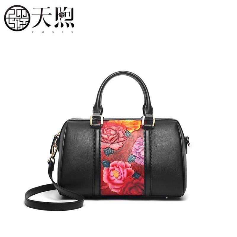 Pmsix 2019 New women genuine leather bag women handbags fashion embossing bag top Cowhide Luxury tote women leather shoulder bag