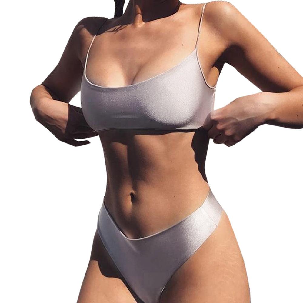 New Sexy 2017 Women Sexy Straps Lacing Up Solid Push-Up Bra Beach Mid Waist Bikini Set Swimsuit Swimwear bathing suit three colors hot sale solid color push up adjustable straps low waist sexy sports bikini set swimsuit 2016 fd81621
