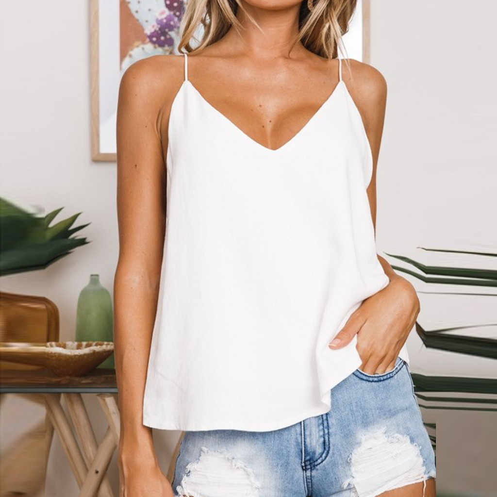 6f4e2324 2019 Summer Women Tank Top Solid Sexy V-Neck Loose Ladies Camisole Tops  Backless Sling