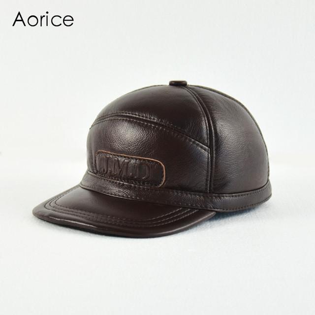 HL140-M genuíno boné de beisebol do chapéu de couro dos homens de couro reais dos homens de pele sólida adulto chapéus ajustáveis caps