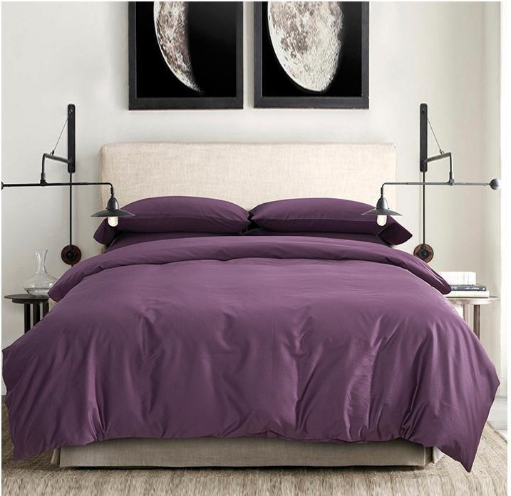 100 egyptian cotton sheets dark deep purple bedding sets king queen size quilt duvet cover - Purple Comforters