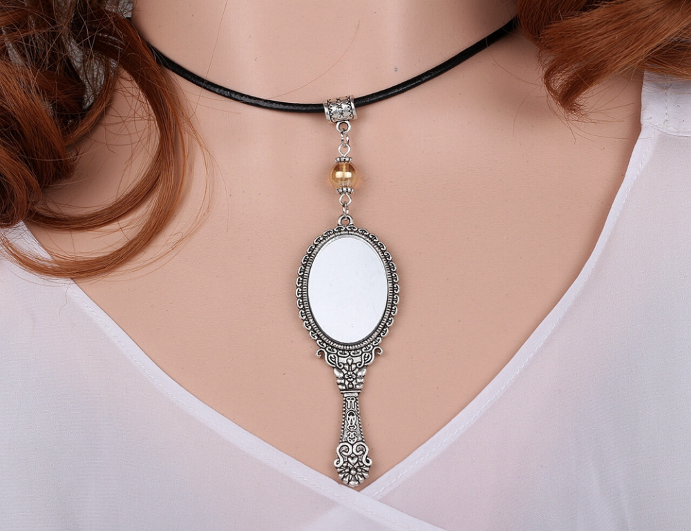 Crystal Beads Enamel Mirror Necklace Pendant Charms Choker Collar Statement Chain Accessories For Women Fashion Jewelry