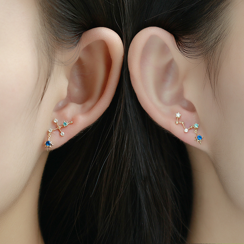Trendy 9K Pure Real Yellow Gold Big Dipper Star Pierced Earrings For Women Girl Fancy Solid Stud Fine Engagement Jewelry Gift