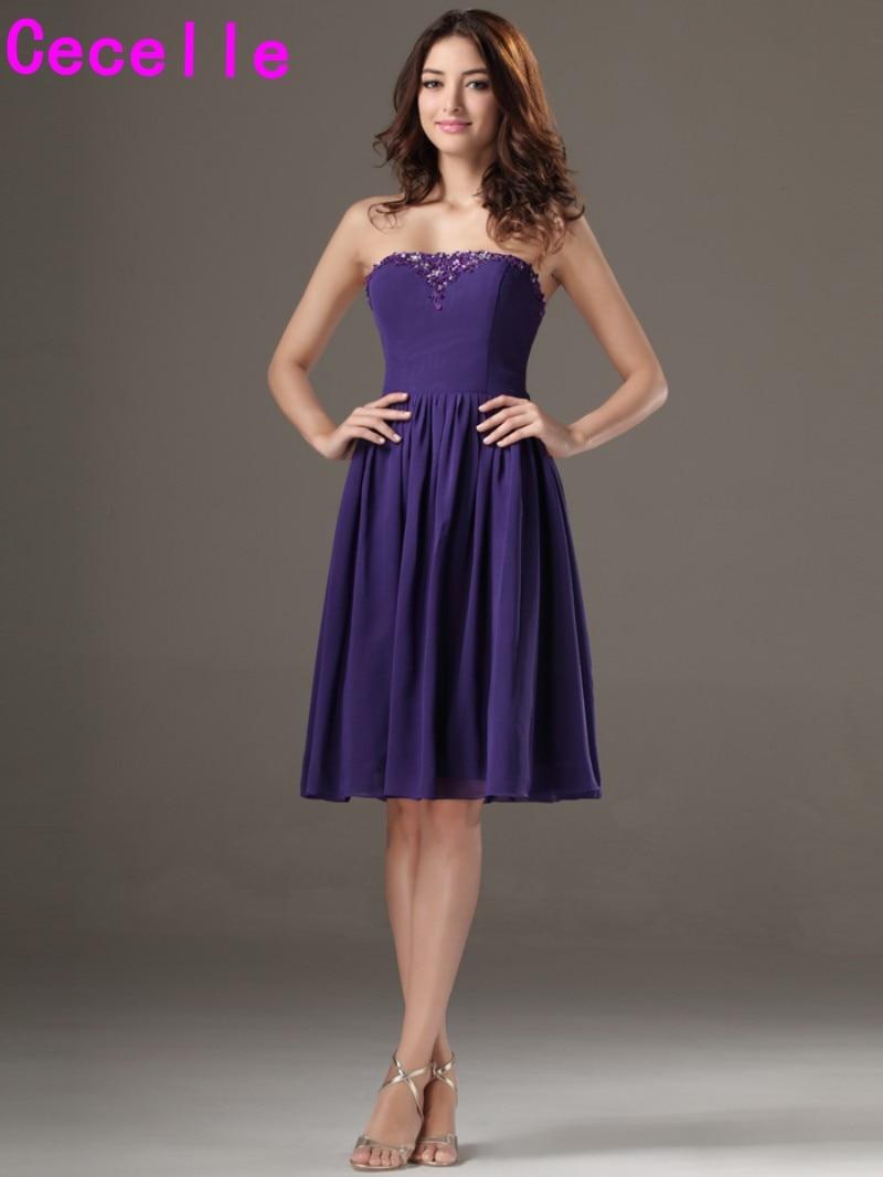 Charmant Short Strapless Purple Bridesmaid Dresses Fotos - Hochzeit ...