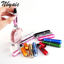 free shipping 5ml Portable Mini Aluminum Refillable Perfume Bottle With Spray Empty Cosmetic Containers With Atomizer For Travel