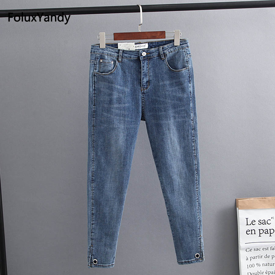 Hollow Out Stretched Casual Jeans Woman Plus Size Slim Skinny Jeans Blue Classic Denim Pencil Pants KKFY1726