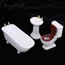 3Pcs/Set 1/12 Scale Modern White Ceramic Bathroom Bathtub Toilet Set for Dollhouse Miniature Furniture Acc Decoration