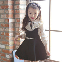 Kids Girls Princess Cotton Suspenders Pleated New Autumn Wind School Dress Kids Clothing