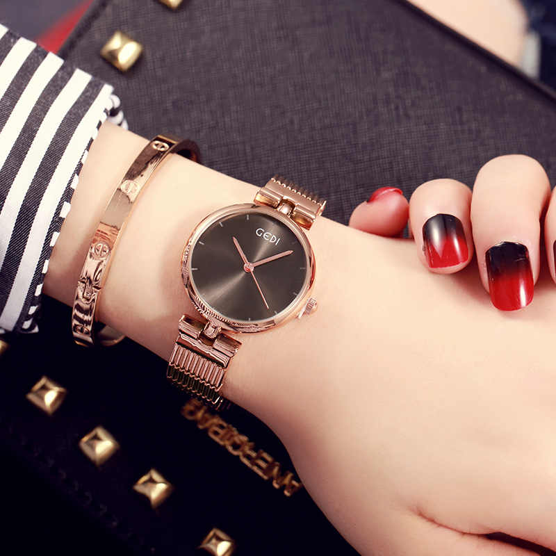 GEDI Brand Luxury Women's Ultra Thin Rose Gold  Black  Stainless Steel Fashion Casual Watch Female Waterproof Wristwatch