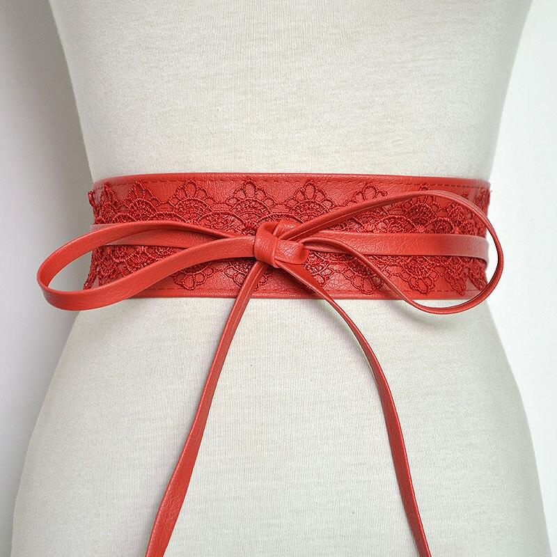 Badinka 2020 New Black White Red Wide Corset Lace Belt Waist Female Obi Waistband Belts For Women Waist Band Ceinture Femme