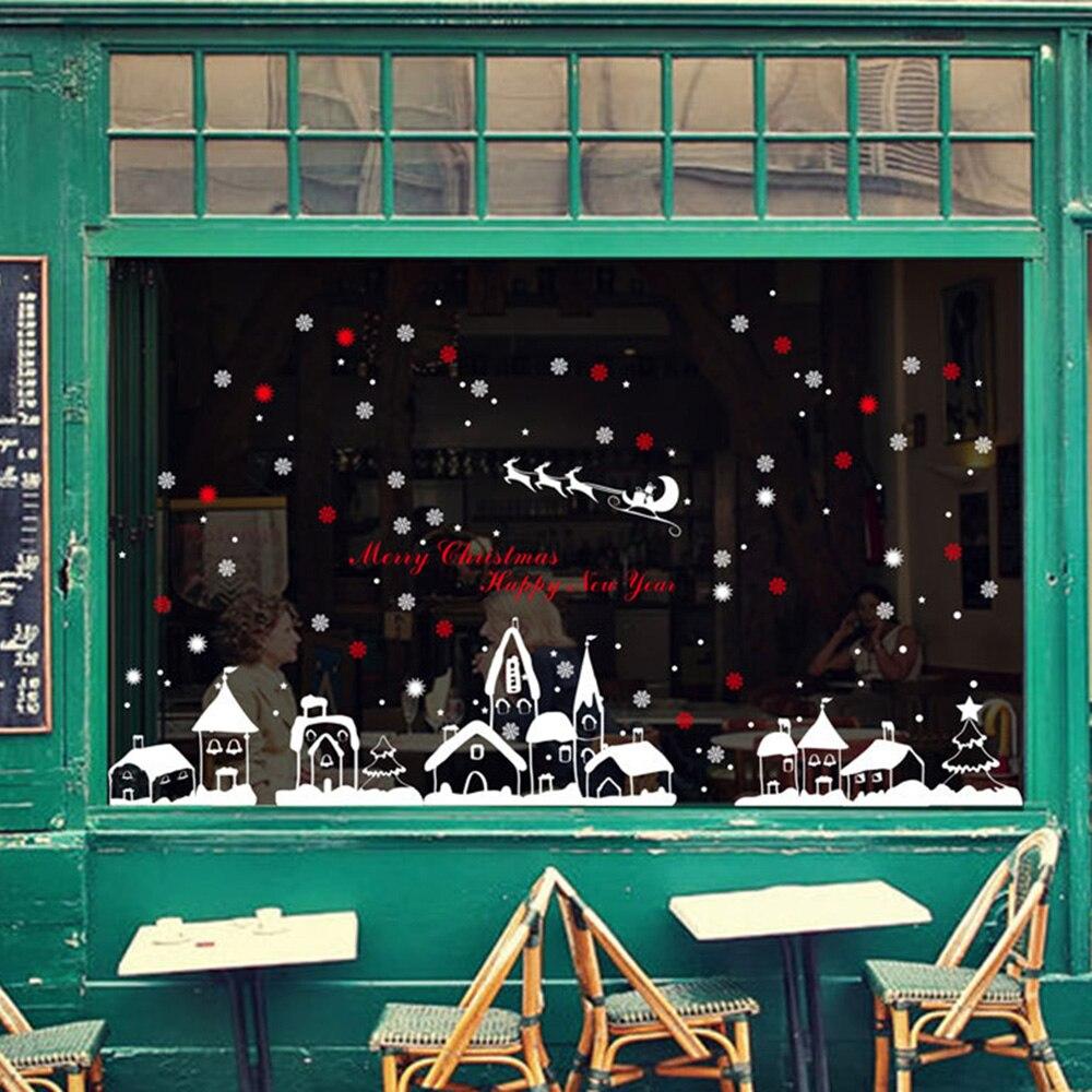 3D Wall Sticker DIY Home Decor Snow Town Christmas