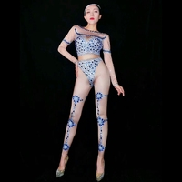 New Stretch Printed Jumpsuit Women Long Sleeve Rhinestones Bodysuit Nude Outfits Dance Stage Show Wear Club One piece Costume