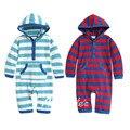 Meninos macacão de bebê macacão de manga outono inverno listrado com capuz traje infantil