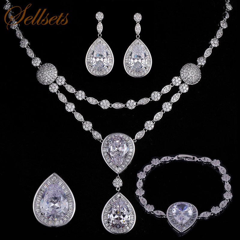 New design classic waterdrop top aaa cubic zirconia wedding bridal  jewelry sets necklace setNew design classic waterdrop top aaa cubic zirconia wedding bridal  jewelry sets necklace set