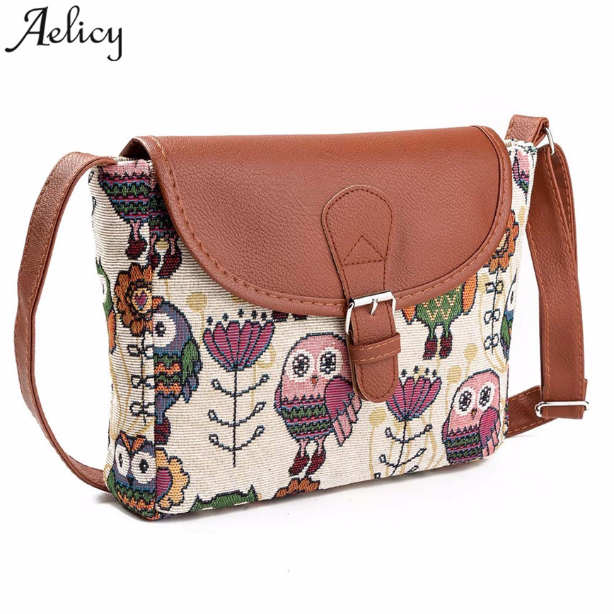 Aelicy мода небольшая сумка Для женщин кожа Сплайсированные Хлопок Ткань сумки мультфильм сова печати Crossbody мешок Messager сумки S23
