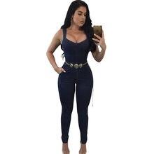 ced953d903cba4 Vrouwen Elegante Denim Jumpsuit Broek met Riem Zakken Off Shoulder Mouwloze  Sexy Bandjes Bodycon Jeans Jumpsuit Overall Catsuit