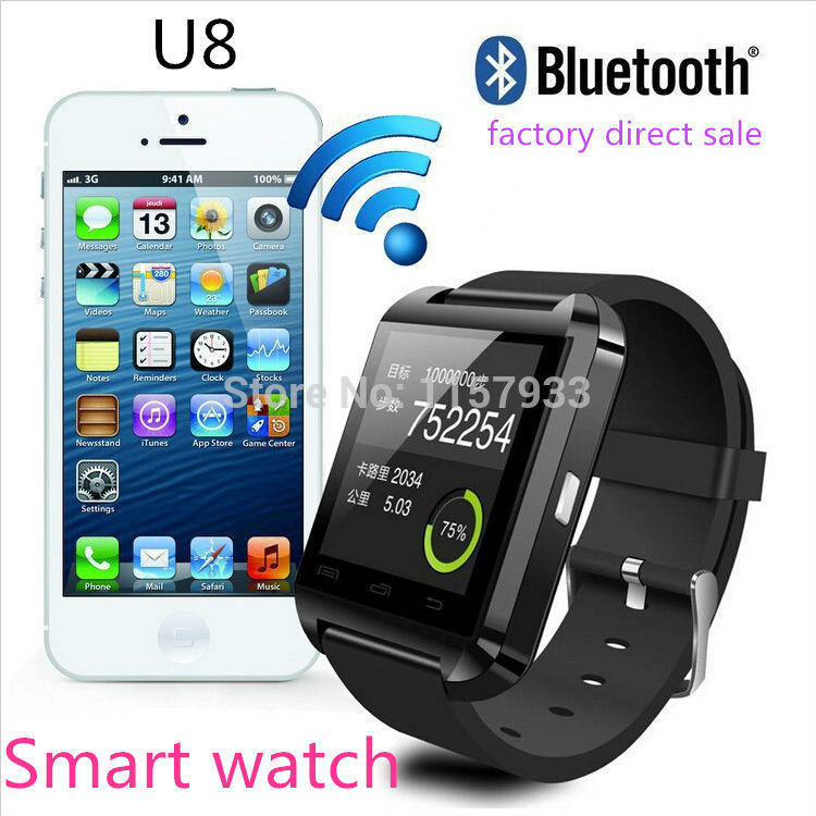 Mais barato smartwatch bluetooth smart watch u8 relógio de pulso digital sport watch para android samsung telefone wearable dispositivo eletrônico