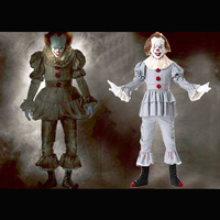 Adult Men Scary Movie Unisex Cosplay Horror Jester Outfit For Men Women Halloween Film IT Pennywise Joker Evil Clown Costume