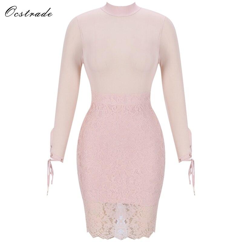 Ocstrade nouveau 2019 Piink voir à travers pure maille moulante robe à manches longues parti dentelle crayon femmes Bandage robes de haute qualité