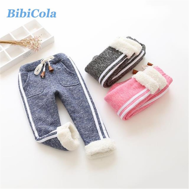 BibiCola Baby Girl Winter Pants Children Boy Solid Casual Trousers Kids Warm Leggings Toddler Thicken Pants Infant Bebe Pants emmababy toddler infant baby girl boy pants wrinkled cotton vintage bloomers trousers legging pants boby clothing