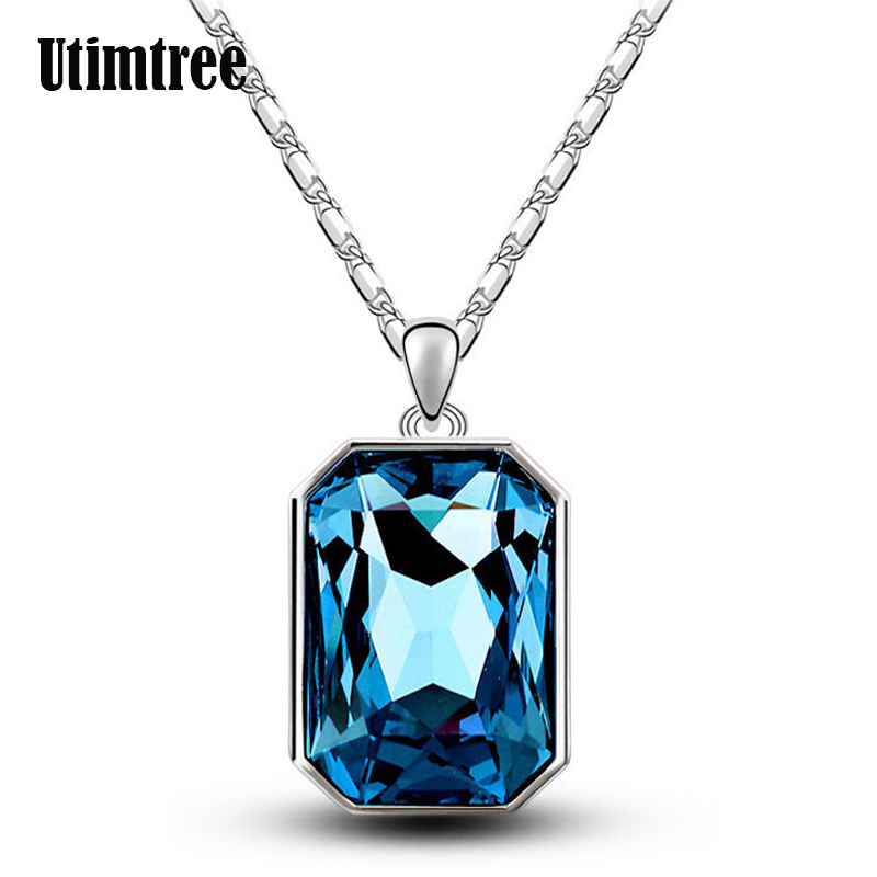 Utimtree Unique Big Rectangle Crystal Woman Necklaces Jewellery Fashion Silver Pendants Wedding Necklace For Brides Top Quality