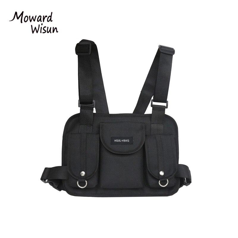 Black Hip Hop Chest Rig Bag Streetwear Functional Tactical Chest Bag Luxury Chest Rig Streetwear Kanye West Waist Packs