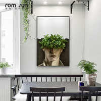 Nordic Green Leaf Man Canvas Painting Modern Character Wall Art Picture for Living Room Aisle White Flower Girl Poster and Print