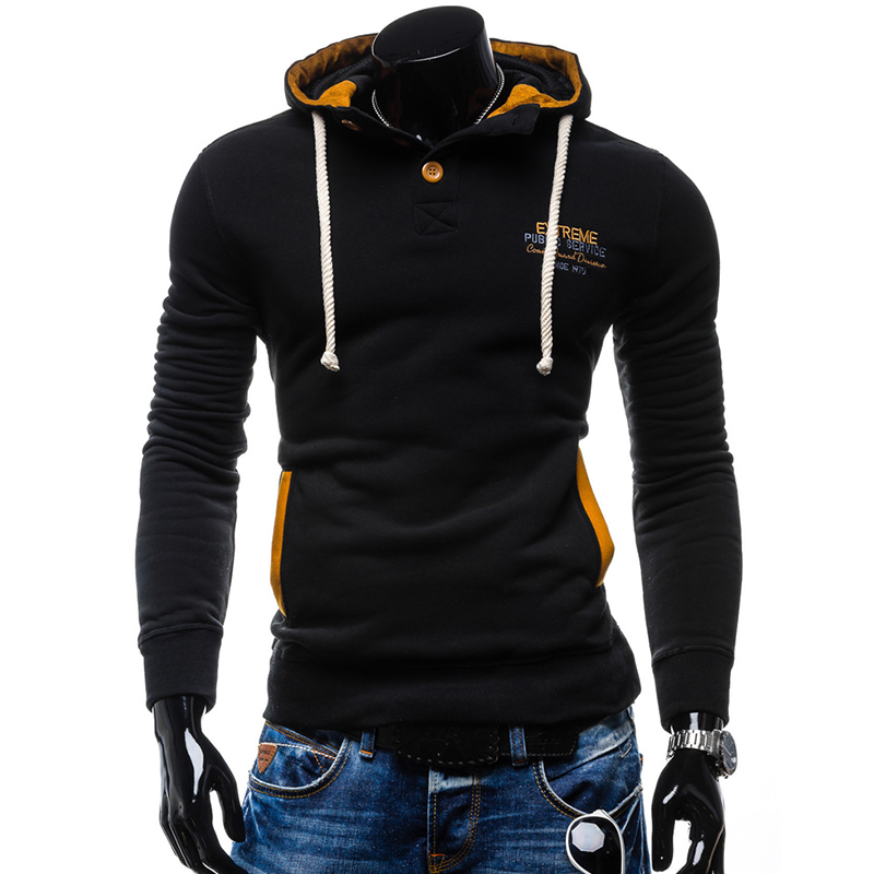 New Men Hoodies Sweatshirts 2017 fashion Men Casual Tracksuit Fashion Patchwork Hooded Pullover Male Hoodies Coat