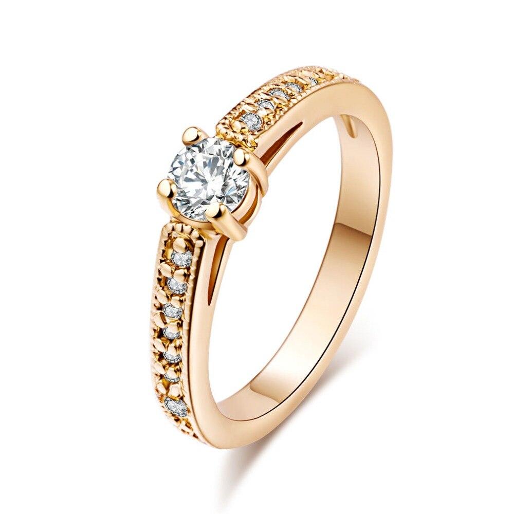 Женские кольца из титановой нержавеющей стали, круглые ювелирные изделия с австрийскими кристаллами золотого цвета