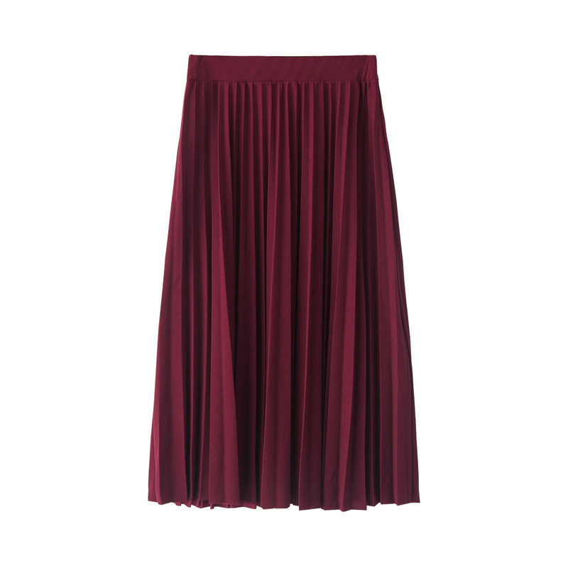 CRRIFLZ 19 Spring Autumn Fashion Women's High Waist Pleated Solid Color Half Length Elastic Skirt Promotions Lady Black Pink 11