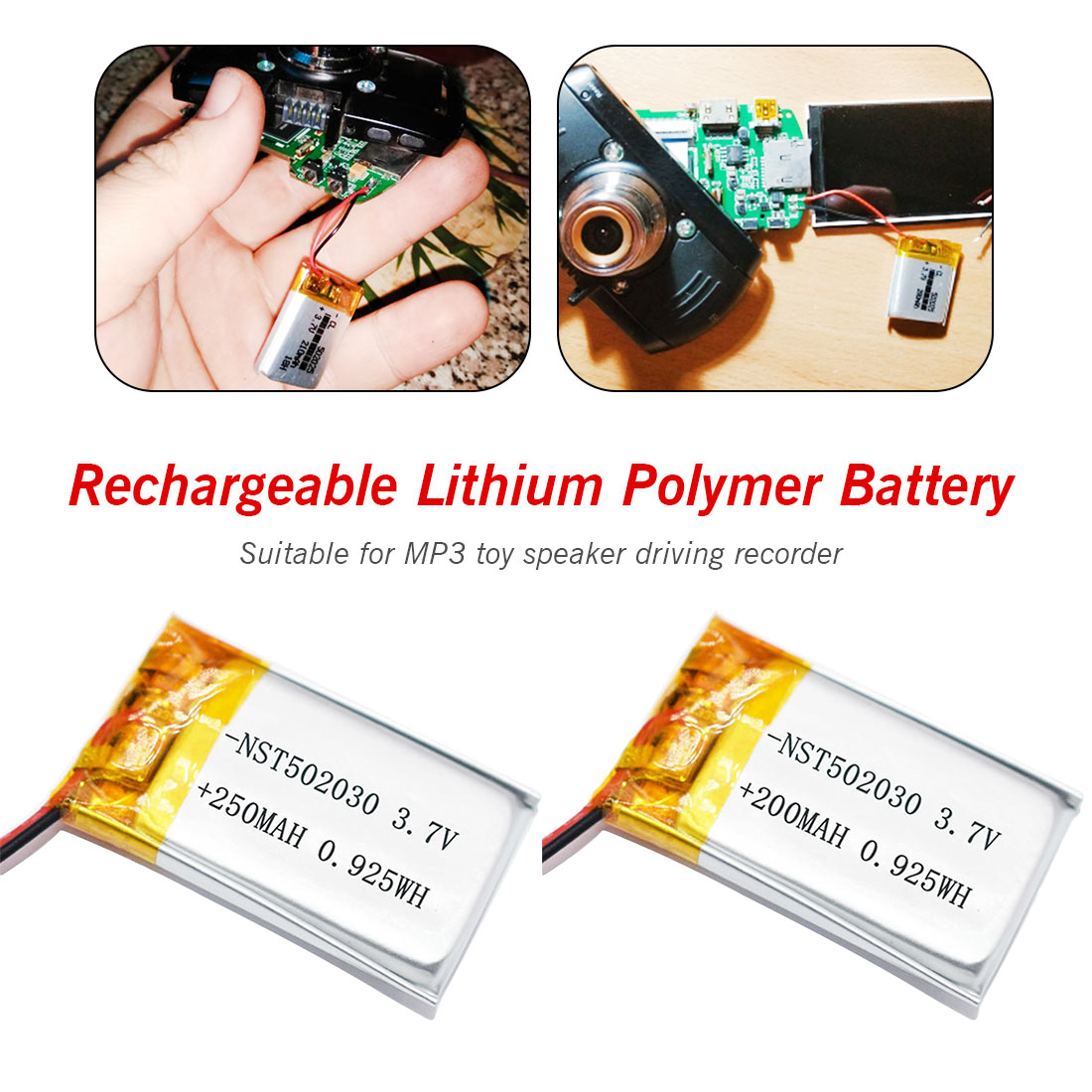 <font><b>3.7V</b></font> 250mAh/200mAh 502030 Lithium Polymer Li-Po li ion Rechargeable <font><b>Battery</b></font> <font><b>Lipo</b></font> cells For MP3 MP4 toys speaker Tachograph POS image