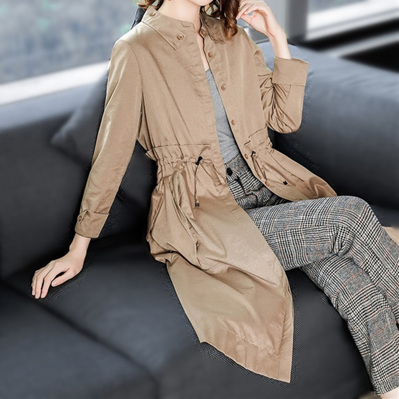 2018 Autumn New High Fashion Brand Woman Classic Single Breasted   Trench   Coat Waterproof Raincoat Business Outerwear size M-2XL