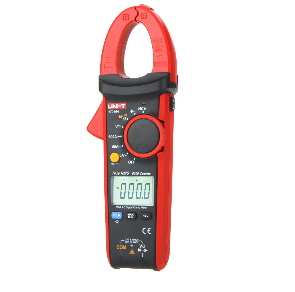UNI-T UT216A True RMS Digital Clamp Meter Mini Auto Range DMM w/ NCV Capacitance AC/DC Voltage AC Current Ohm Tester Tool uni t ut216a auto range multimeter mini true rms digital clamp meter w ncv capacitance ac dc voltage current tongs ohm tester