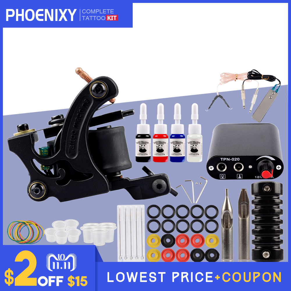 Completed Tattoo Machine Kit 10 Coils Guns Set 4 Colors Ink Black Pigment Sets Power Tattoo Beginner Grips Kits Permanent Makeup tattoo kit completed permanent makeup 2 machines set professional tattoo machine set 10 colors tattoo ink sets permanent make up