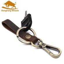 Genuine Leather Keychain Keyring Braided Handmade font b Key b font Holder Bags Jewelry Women Men